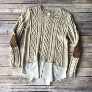 Monteau sweater with elbow patches.